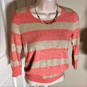 LOFT tan and coral striped sweater